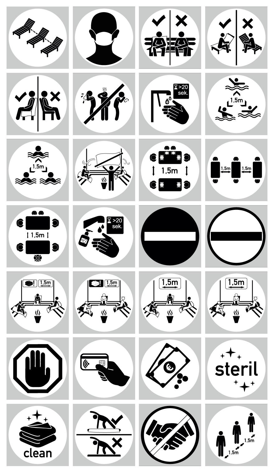 Corona-Schilder Piktogramme